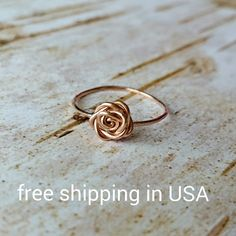 rose ring rose gold FREE SHIPPING 14k (11.00 USD) by FoxCFashion
