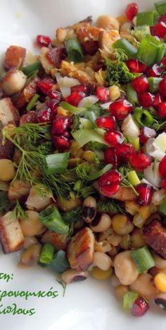 Σαλάτα οσπρίων με απάκι και άρωμα εσπεριδοειδών - cretangastronomy.gr Snack Recipes, Dinner Recipes, Cooking Recipes, Healthy Recipes, Healthy Meals, Healthy Food, Chile, Happy Foods, Salad Bar