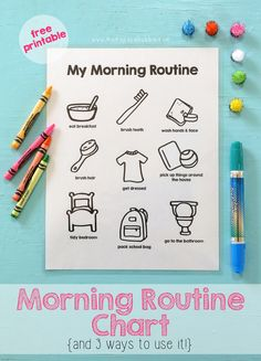 A printable morning routine chart to help get mornings started easily and efficiently. Included is three different ways to use the chart too! Morning Routine Printable, Morning Routine Chart, Kids Routine Chart, Morning Routine Kids, Kids Schedule Chart, Bedtime Routine Chart, Morning Morning, Morning Person, Kinder Routine-chart