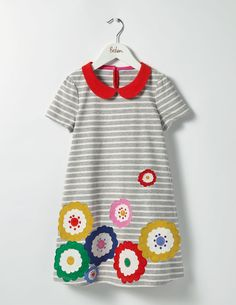 Fun Appliqué Jersey Dress Day Dresses at Boden Kids Clothes Sale, Sewing Kids Clothes, Clothes 2019, Peter Pan Collar Dress, Girls Dress Up, Little Girl Outfits, Stylish Baby, Toddler Dress, Boy Fashion