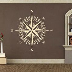 Compass Rose with Stars Vinyl Wall or Ceiling Decal - nautical nursery room K625