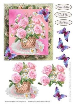Basket of Pink Flowers Topper with Decoupage on Craftsuprint - Add To Basket!