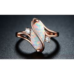 Peermont 18K Rose Gold Plated White Fire Opal and Cubic Zirconia... ($15) ❤ liked on Polyvore featuring jewelry, rings, jewelry & watches, cubic zirconia engagement rings, white fire opal ring, fire opal jewelry, cz jewelry and cz engagement rings