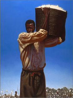 When faced with unspeakable hardship and struggle, African-Americans have retained a sense of dignity, pride, elegance and strength. In this dramatic work by Kadir Nelson, a Southern plantation field slave hoists a basket filled with cotton over his shoulder, undaunted by the horrible slave existence and painful task of picking cotton forced upon him.