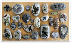 pretty rock collection - transfer images unto rocks