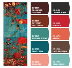 Paint colors from Chip It! by Sherwin-Williams. Love the real teal for living room wall along with the red for accent colors and kitchen wall colors. Red For Bedrooms Kitchen Wall Colors, Bathroom Paint Colors, Kitchen Paint, Red Wall Kitchen, Kitchen Living, Romantic Bedroom Colors, Romantic Room, Teal Living Rooms, Teal Living Room Color Scheme