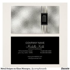 Metal Stripes On Glass Monogram Beige Business Card A Sophisticated Design That Simulates