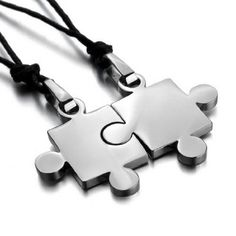 YOU'RE THE MISSING PIECE IN MY LIFE: JBlue Jewelry Men's His & Hers Couples Gift Puzzle Stainless Steel Pendant Love Necklace Set Valentine Silver (with Gift Bag): J...