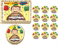 Curious George with Cake Party Edible Cake Topper Frosting Sheet - All Sizes! #ProfessionalBakeryQuality