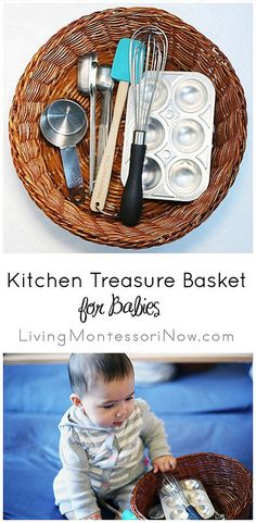Monday – Kitchen Treasure Basket for Babies You'll find treasure baskets in Montessori infant-toddler programs, and they're great to have if you're the parent, grandparent, or caregiver of a baby.Blue Monday Blue Monday may refer to: Montessori Baby, Montessori Activities, Infant Activities, Learning Activities, Montessori Bedroom, Kids Learning, Montessori Homeschool, Montessori Materials, Toddler Play