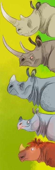 Rhinoceros Species by HeffyJoe (Top to Bottom: White, Black, Indian, Javan, Sumatran) Character Concept, Character Art, Concept Art, Character Design Animation, Character Design References, Cartoon Cartoon, Illustrations, Illustration Art, Character Design Inspiration