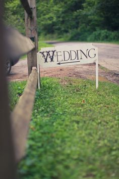 "Wedding Directional sign with embellished ""W"""