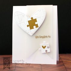 You Complete Me gold and white puzzle heart card using Lil' Inker Designs Piece of Me stamp set and dies