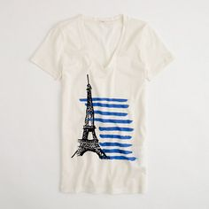 J Crew Factory stripe Eiffel Tower graphic tee