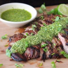 Grilled flank steak is delicious, but pepita lime chimichurri sauce puts it over the top. You will want to eat this all grilling season long