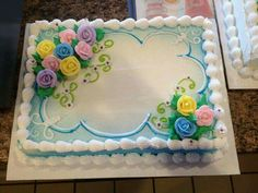 Floral sheet cake i like the blue and white combo Cake Decorating Techniques, Cake Decorating Tips, Cookie Decorating, Pastel Rectangular, Dairy Queen Cake, Sheet Cake Designs, Birthday Sheet Cakes, Square Cakes, Cake Images