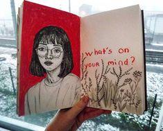 Drawing, red aesthetic, tumblr, art, bullet journal