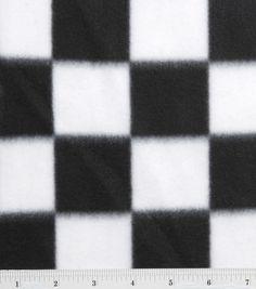 Blizzard Fleece Fabric-Black/White Check