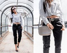 Get this look: http://lb.nu/look/8689539  More looks by Kristina: http://lb.nu/dayinmydreams  Items in this look:  David Lerner Button Up Blouse, Gucci Belt, David Lerner Chino Pant, M. Gemi Black Pump, Status Anxiety Grey Crossbody Bag   #chic #classic #minimal #minimalist #businesscasual #workwear