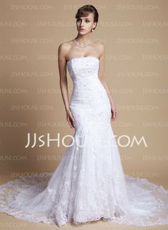 Wedding Dresses - $264.99 - Mermaid Strapless Chapel Train Satin Tulle Wedding Dress With Ruffle Lace Beadwork Sequins (002000375) http://jjshouse.com/Mermaid-Strapless-Chapel-Train-Satin-Tulle-Wedding-Dress-With-Ruffle-Lace-Beadwork-Sequins-002000375-g375