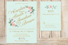 Printable Wedding Invitation and RSVP Card (mint background with blush pink & peach flowers)