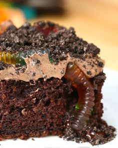 """""""Worms And Dirt"""" Poke Cake"""
