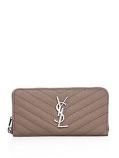 f674e90d3c78 Saint Laurent - Monogram Zip Around Leather Wallet Leather Bag
