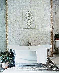 via Mix and Chic: Cool designer alert- Elaine Griffin! Wow, the tile work in this bathroom is ridiculous. Bathroom Design Inspiration, Home Decor Inspiration, Design Ideas, Fitted Bathroom, Small Bathroom, Bathroom Layout, Bathroom Ideas, Bath Ideas, Design Bathroom