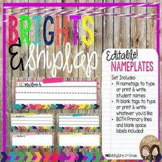 """Decorate you classroom in a fun Brights & Burlap theme with these EDITABLE name plates and labels! Name plates and labels measure 10.5"""" x 3"""". Perfect for student desks, tables, and many storage boxes. Blank labels would also be perfect for your"""