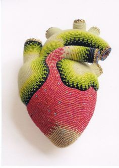 Beaded Heart   My Grandmother would have attempted to make something like this. What the heck would you do with it?