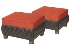 Breckenridge Ottomans 2 Piece Set Brick- by La-Z-Boy Outdoor by La-Z-Boy Outdoor. $399.00. Storage Compartment. Hand-woven Wicker. Rust Resistant Aluminum Framing. All Weather Fabric. 5 Year Limited Frame Warranty, 1 Year Limited Weave and Fabric Warranty. La-Z-Boy Outdoor Patio Furniture features premium patio furniture for all types of outdoor living, with this set of two Breckenridge Ottomans you'll be able to kick your feet up in style. The Ottomans feature ...
