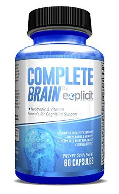 Brain Supplement & Nootropic - CompleteBrain - Improves Memory, Mood, Focus, Clarity & Creativity - by eXplicit Supplements - Rating 4.7 out of 5 stars, 42 customer reviews