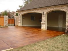 Photo Gallery of Stained Concrete - love how the stain and house brick color compliment eachother Outdoor Concrete Stain, Stained Concrete Driveway, Acid Stained Concrete, Concrete Driveways, Concrete Floors, Concrete Staining, Cement Stain, Concrete Porch, Plywood Floors
