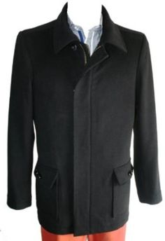 Superior quality wool crafted 4 button single breasted zipper black peacoat for men. Double Breasted Suit, Single Breasted, Coat Dress, Men Dress, Topcoat Men, Mens Overcoat, Black Singles, Jacket Buttons, Top Coat