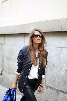 black bomber 9 by seamsforadesire, via Flickr. Love the hair, red lips, glasses, jacket...