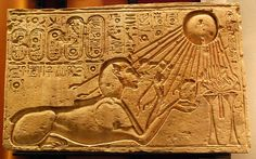 Akhenaten, pictured here as a sphinx, hoped to build a cult of worship to the sun god Aten in an undeveloped site that was uncontaminated by worship of other gods.