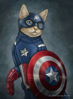 The fat cats play the superhero in a series of illustrations made by Jenny Parks as Captain America, Batman, Thor or the Hulk. Discover the other fascinating side of our friends, the cats. Crazy Cat Lady, Crazy Cats, The Bloodhound Gang, Comic Book Superheroes, Gatos Cats, Super Cat, Cat People, Cat Art, Pet Portraits