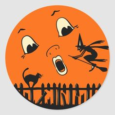 Vintage Halloween Witch and Moon Classic Round Sticker . Great vintage Halloween art - a witch flying in front of a full moon with a black cat on a face. Retro Halloween, Vintage Halloween Images, Halloween Moon, Holidays Halloween, Halloween Ideas, Halloween Stuff, Happy Halloween, Halloween Cartoons, Halloween Designs