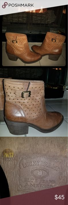 Lucky Brand leather ankle boots Lucky Brand leather boots with metal buckle on side of boot. They are a beautiful Toffee color, and go well with jeans.   Excellent condition, and lightly used. Lucky Brand Shoes Ankle Boots & Booties