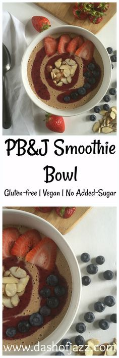 The goodness of a peanut butter and jelly sandwich remixed into a smoothie bowl that's gluten-free, vegan, and free of added sugar! This takes just two minutes and three steps to make and is the perfect breakfast to start your day. From Dash of Jazz.