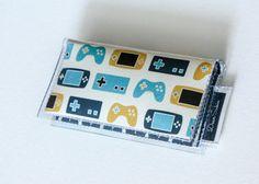 Mini Card Holder - Game On, Dear Sukie, mini card, moo card, nintendo wallet, small wallet, snap, vinyl, paper, cute wallet, video game