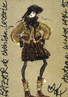 """Design & Fashion illustration by Christian Lacroix, AW 1994-95, Collection """"Bazar""""."""