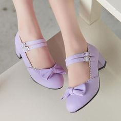 Sweet-Lolita-Dance-Womens-Oxford-Mary-Jane-Ankle-Strap-Bowknot-Mid-Heels-Shoes