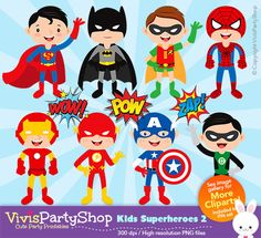SUPERHEROES 2 Clipart Printable Instant download by VivisPartyShop