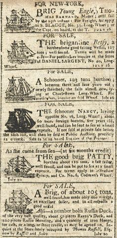 Ships for Sale, Centinel, Boston, July 1796