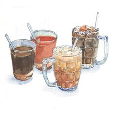 Old-style Coffee and Tea.Asian way 🙋🏻 (painted for The Baba Heritage Cuisine - Phuket Old Town) Food Design, Web Design, Dessert Illustration, Food Doodles, Food Sketch, Watercolor Food, Thai Dessert, Smoker Cooking, Food Painting