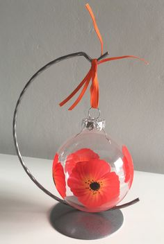Poppy bauble, hand painted, forces gift, lest we forget, Poppy, Poppies, red and orange, remembrance gift, Army gift, Poppy Day by DragonflyArtDesign1 on Etsy