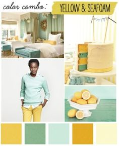 guest room or maybe master color scheme: yellow/seafoam color inspiration for your future home Totten Johnson :) Colour Pallette, Colour Schemes, Color Combinations, Color Palate, Seafoam Color, Deco Kids, Mrs Hudson, Mellow Yellow, Mustard Yellow