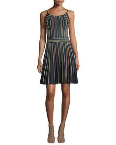 Micro-Striped Fit-&-Flare Dress, Black, Women's, Size: 40 - M Missoni