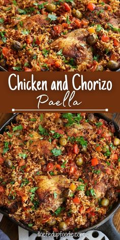 Chicken and Chorizo Paella is an easy and flavorful one-pot dinner the whole family will love. #ChickenChorizoRecipe #ChickenAndChorizoPaella #ChickenRecipesDinnerEasy #ChickenChorizo #ChorizoRecipes #ChorizoRecipesDinner #Chorizo Chicken Chorizo Recipe, Pork And Beef Recipe, Chorizo Recipes, Meat Recipes, Fall Recipes, Real Food Recipes, Pork Recipes For Dinner, Best Chicken Recipes, Healthy Comfort Food